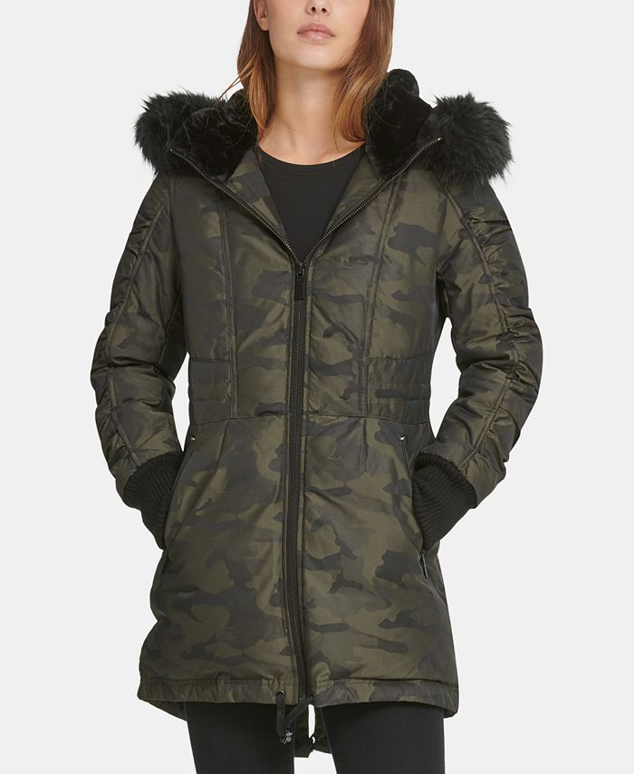 DKNY - Faux-Fur-Trim Camo-Print Puffer Coat
