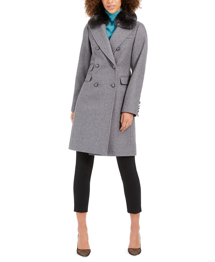 Vince Camuto - Double-Breasted Coat with Faux-Fur-Collar