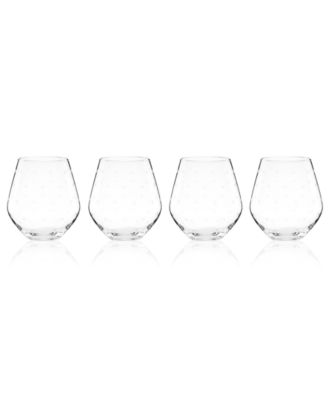 kate spade new york Set of 4 Larabee Dot Stemless Red Wine Glasses