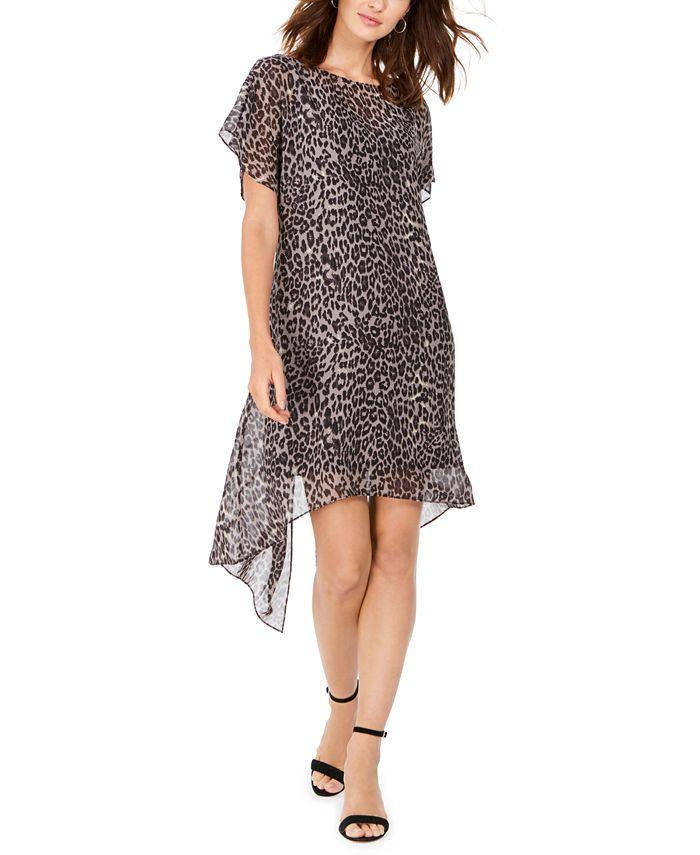 Adrianna Papell - Leopard-Print Chiffon Flyaway Dress