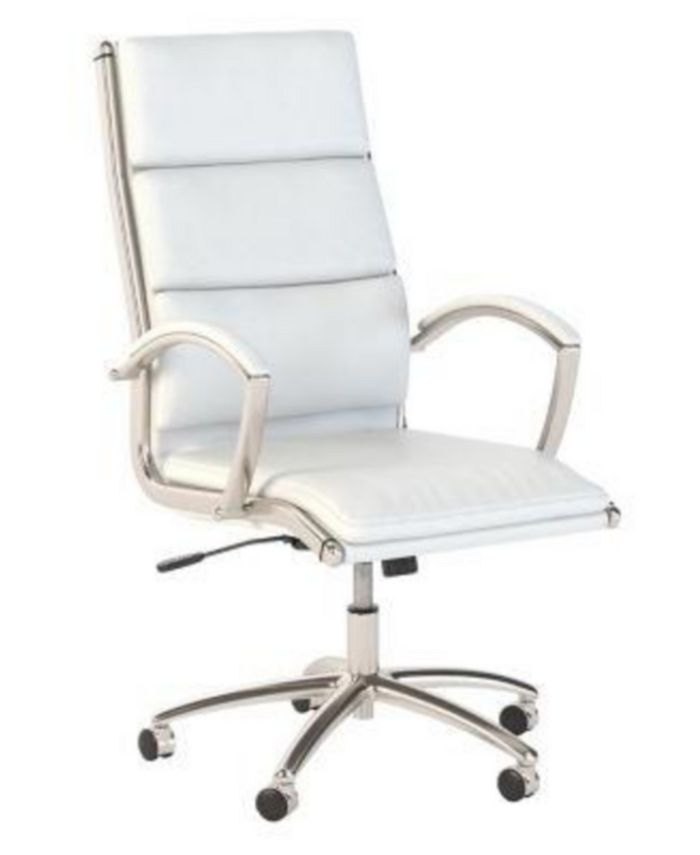Bush Furniture - Office by kathy ireland® Method High Back Leather Executive Chair in White