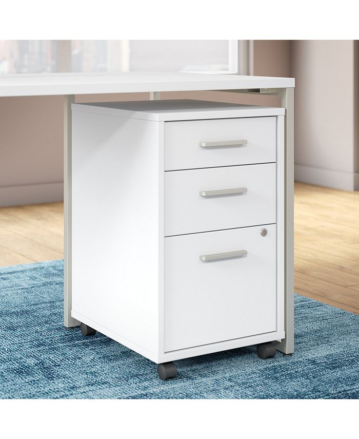 Kathy Ireland Office by Bush Furniture - Office by kathy ireland® Method 3 Drawer Mobile File Cabinet in White - Assembled