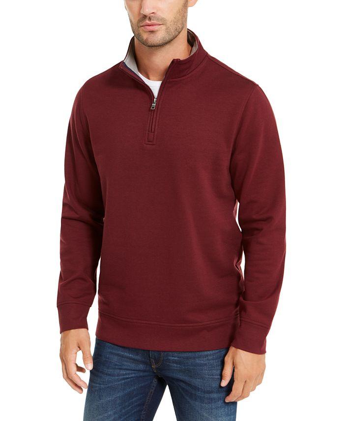 Club Room - Men's Regular-Fit Stretch 1/4-Zip Tech Fleece Sweatshirt