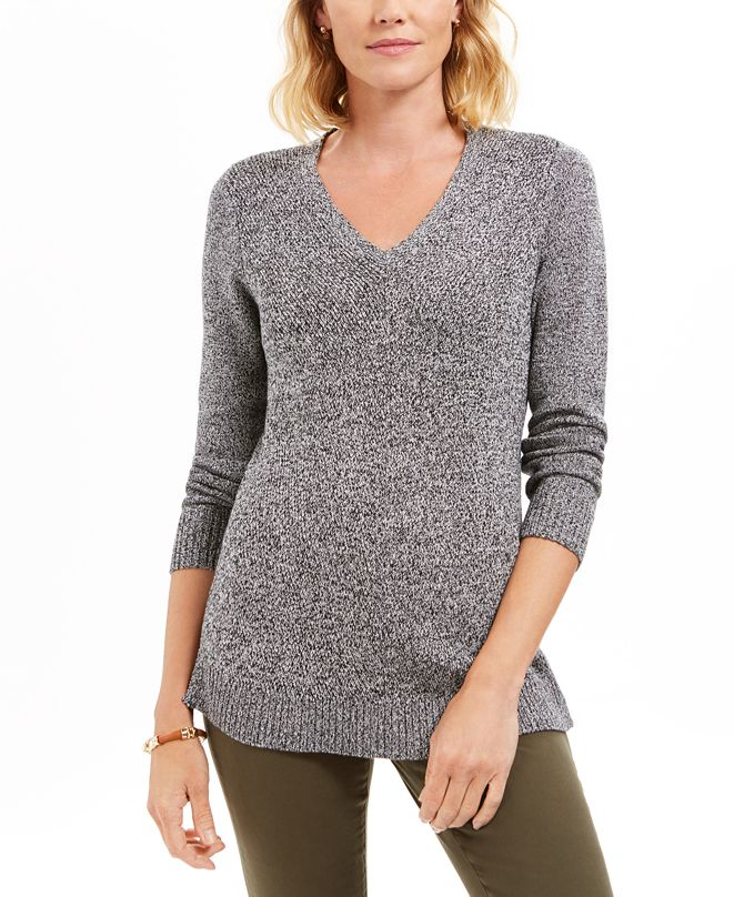 Charter Club Marled-Knit Tunic Sweater, Created for Macy's