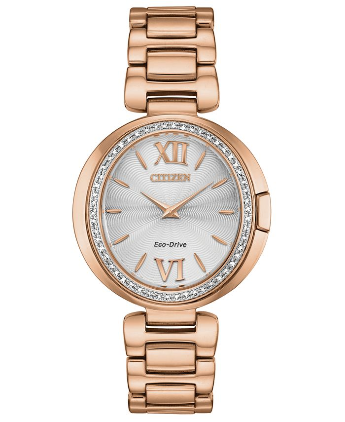 Citizen - Women's Capella Diamond-Accent Rose Gold-Tone Stainless Steel Bracelet Watch 34mm