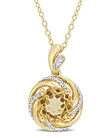 """Citrine (1-4/5 ct. t.w.), White Topaz (1/7 ct. t.w.) and Diamond Accent Swirl 18"""" Necklace in 18k Yellow Gold Over Sterling Silver"""