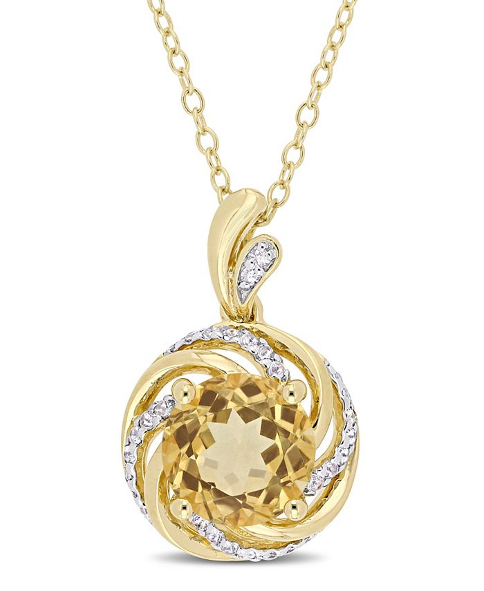 """Macy's - Citrine (1-4/5 ct. t.w.), White Topaz (1/7 ct. t.w.) and Diamond Accent Swirl 18"""" Necklace in 18k Yellow Gold Over Sterling Silver"""