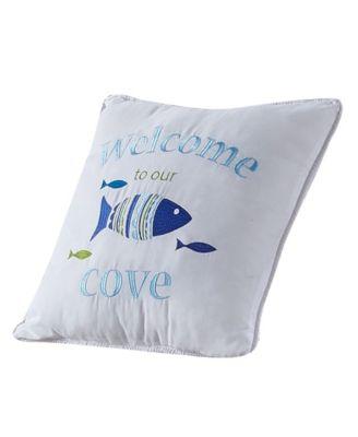 "Welcome Cove Script Pillow, 18"" x 18"""