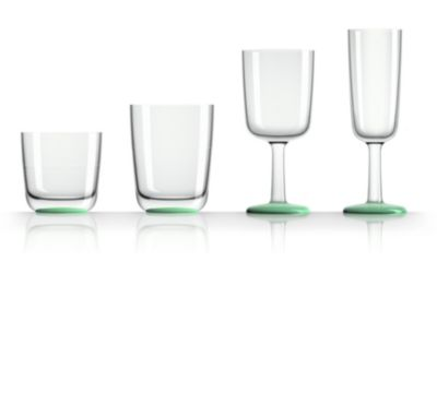by Palm Tritan Highball Tumbler with Green non-slip base, Set of 2