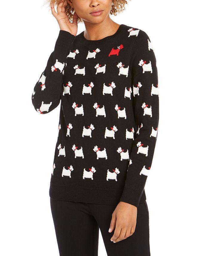 Charter Club - Dog-Print Crewneck Sweater