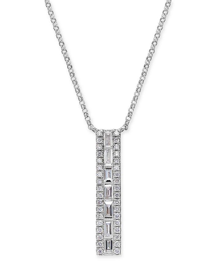 "Macy's - Diamond Baguette Vertical Bar 18"" Pendant Necklace (3/8 ct. t.w.) in 14k White Gold"