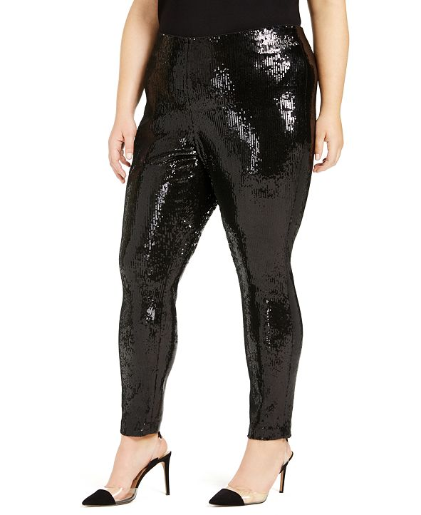 INC International Concepts I.N.C. Plus Size Sequin Pull-On Pants, Created for Macy's
