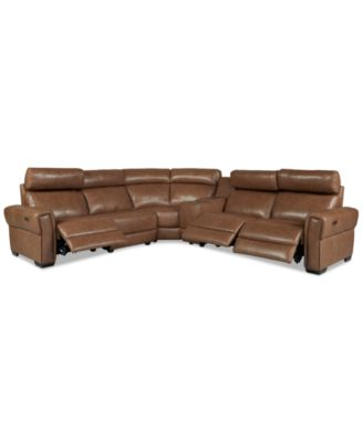 "Josephia 6-Pc. Leather ""L"" Shaped Sectional with 3 Power Recliners and Console, Created for Macy's"