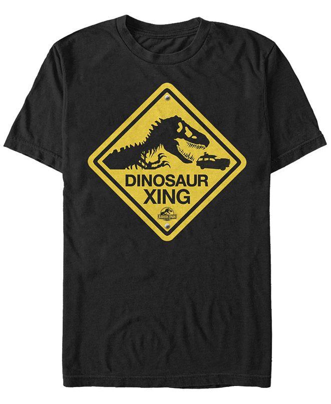 Jurassic Park Men's Dinosaur Crossing Sign Short Sleeve T-Shirt