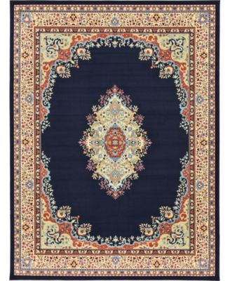 Birsu Bir1 Navy Blue 4' x 6' Area Rug
