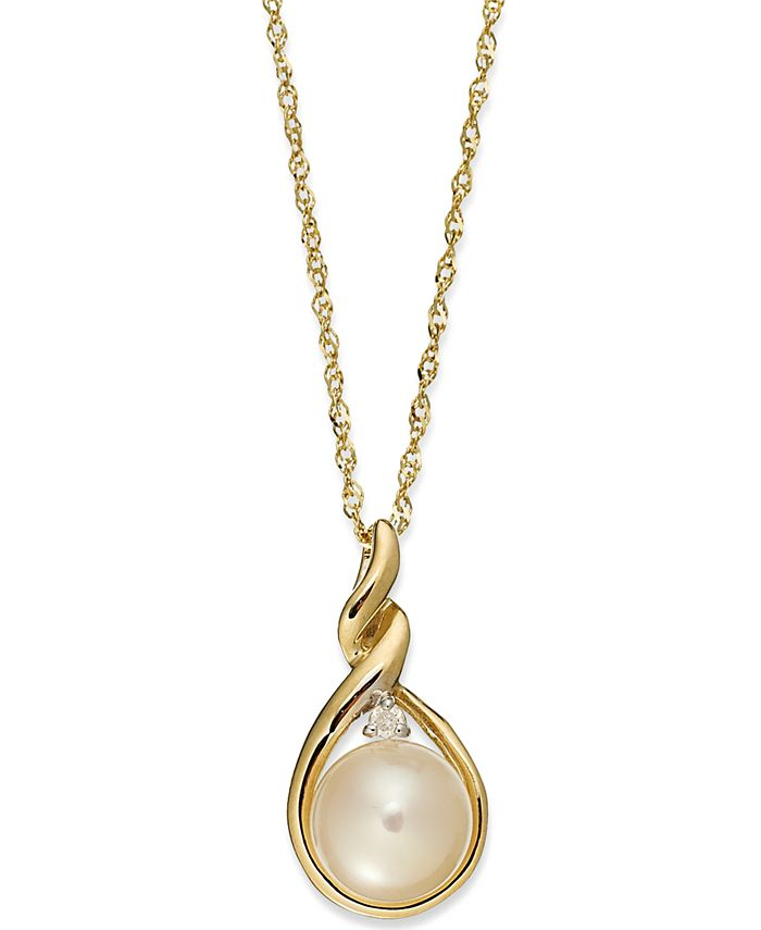 Macy's - 14k Gold Necklace, Cultured Freshwater Pearl and Diamond Accent Twist Pendant