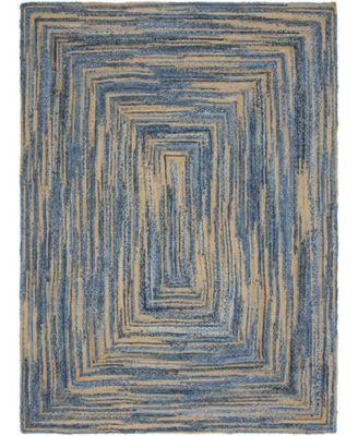 Roari Braided Chindi Rbc1 Blue/Natural 6' x 9' Area Rug