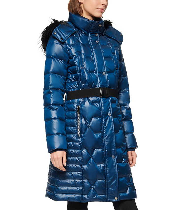 Marc New York - Belted Faux Fur Hooded Puffer Coat