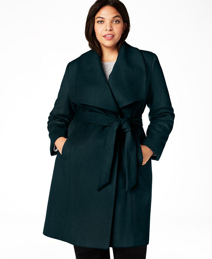 Cole Haan - Plus Size Belted Wrap Coat