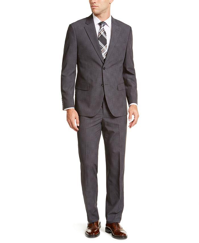Nautica - Men's Modern-Fit Bi-Stretch Dark Gray Plaid Suit