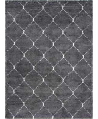 Fazil Shag Faz5 Gray 8' x 8' Square Area Rug