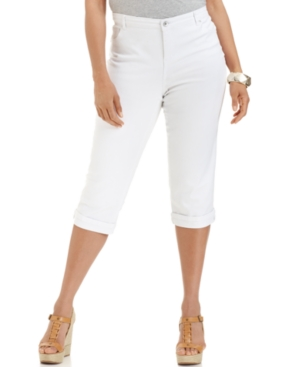 Style & Co. Plus Size Tummy Fit Capri Jeans, Bright White Wash
