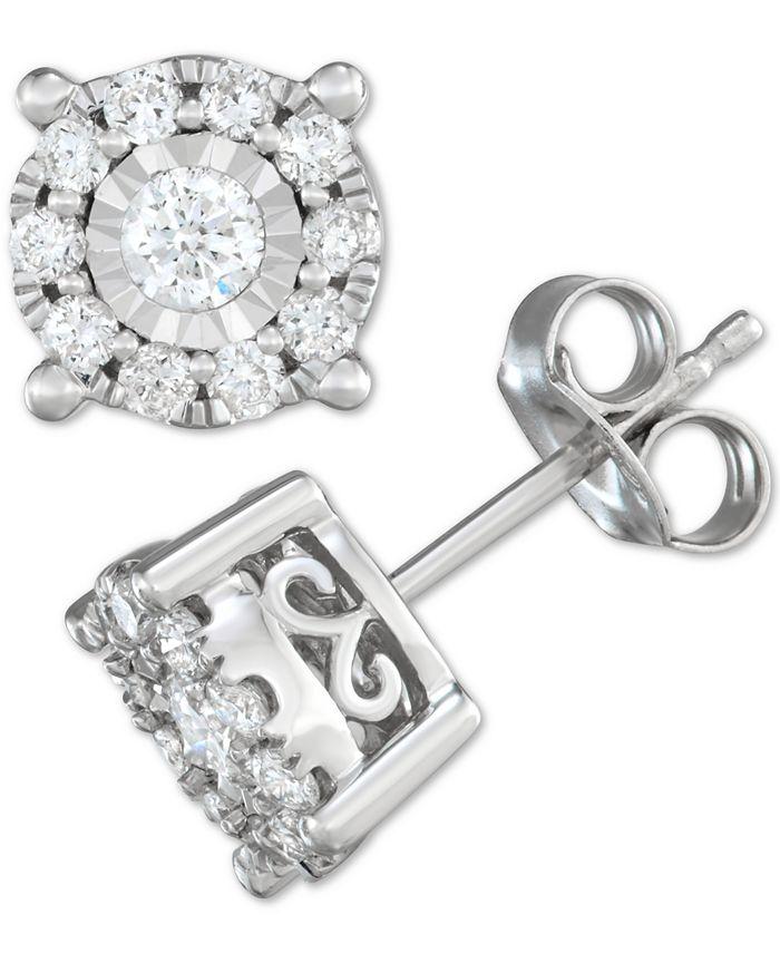 Macy's - Diamond Halo Stud Earrings (1/2 ct. t.w.) in 14k White Gold