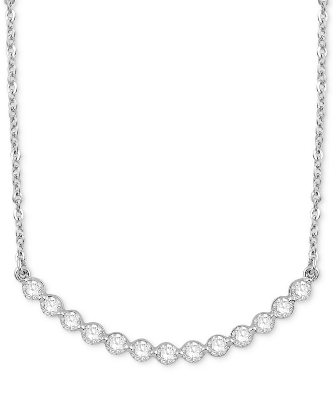 "Macy's Diamond Circular Setting 18"" Pendant Necklace (1/2 ct. t.w.) in 14k White Gold"