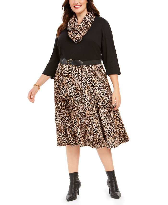 Robbie Bee - Plus Size Belted Solid & Animal-Print Sweater Dress & Scarf