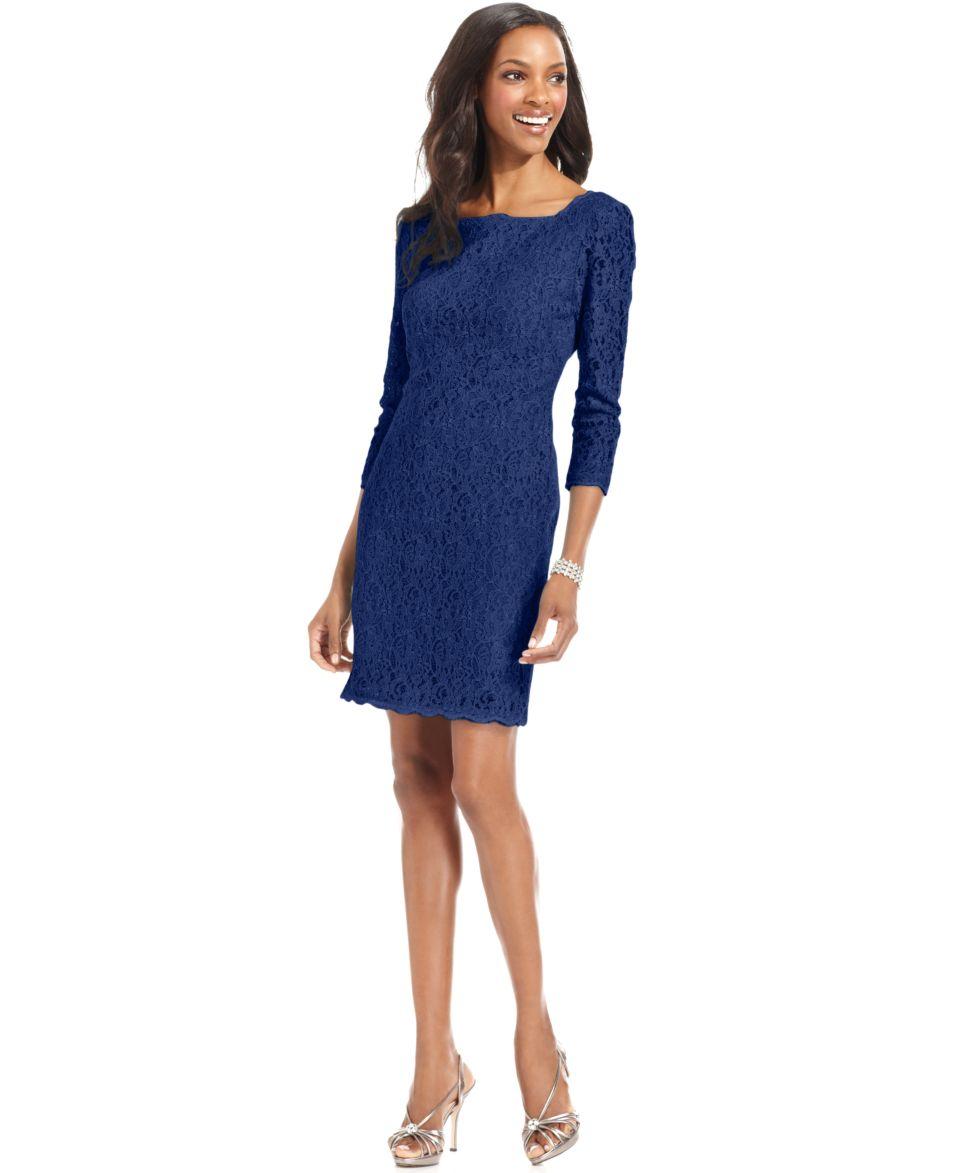 Adrianna Papell Petite Dress, Three Quarter Sleeve Lace Sheath   Dresses   Women