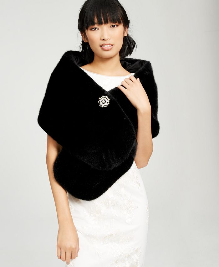 Adrianna Papell - Faux-Fur Embellished Shawl