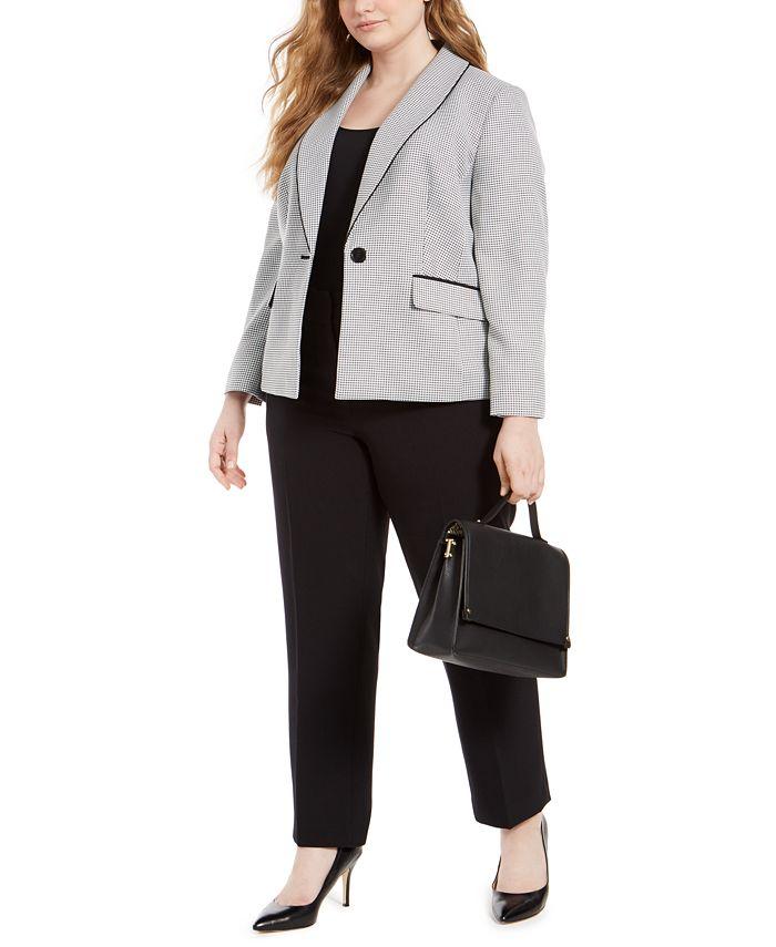 Le Suit - Plus Size Shawl-Collar Straight-Leg Pants Suit