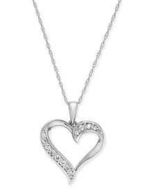 """Diamond Heart 18"""" Pendant Necklace (1/6 ct. t.w.) in 14k Gold (Also available in 14k White or Rose gold)"""