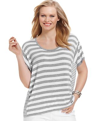 MICHAEL Michael Kors Plus Size Top, Short-Sleeve Striped