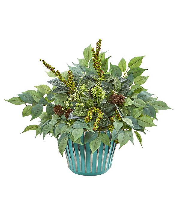 """Nearly Natural 15"""" Mixed Fittonia and Ficus Artificial Plant in Turquoise Vase"""