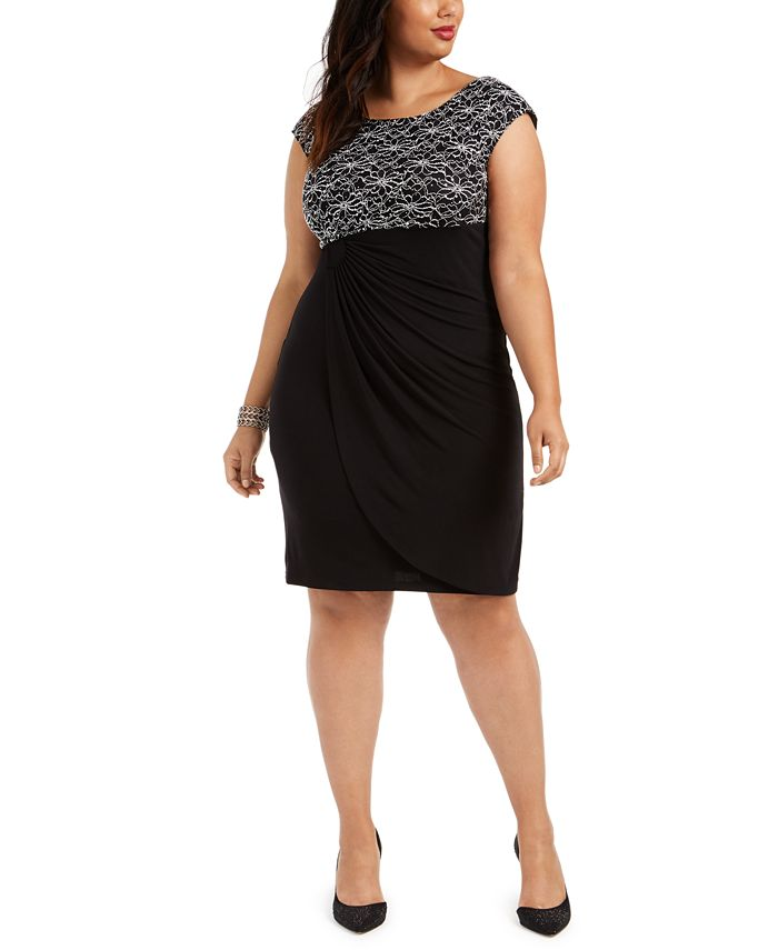 Connected - Plus Size Lace-Top Sheath Dress