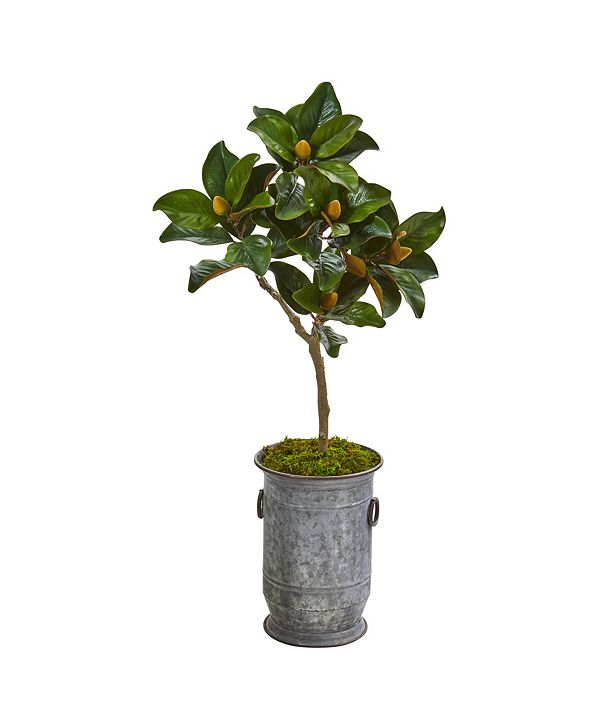 """Nearly Natural 45"""" Magnolia Leaf Artificial Tree in Vintage Metal Planter"""