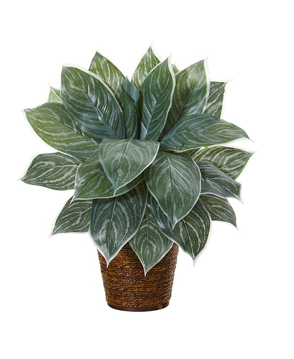"Nearly Natural 18"" Silver Aglaonema Artificial Plant in Basket Real Touch"