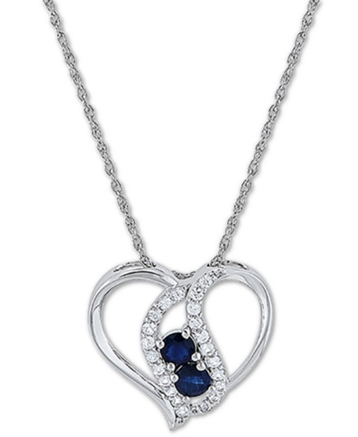 """Macy's - Blue Sapphire (5/8 ct. t.w.) & White Sapphire (3/8 ct. t.w.) 18"""" Pendant Necklace in Sterling Silver"""