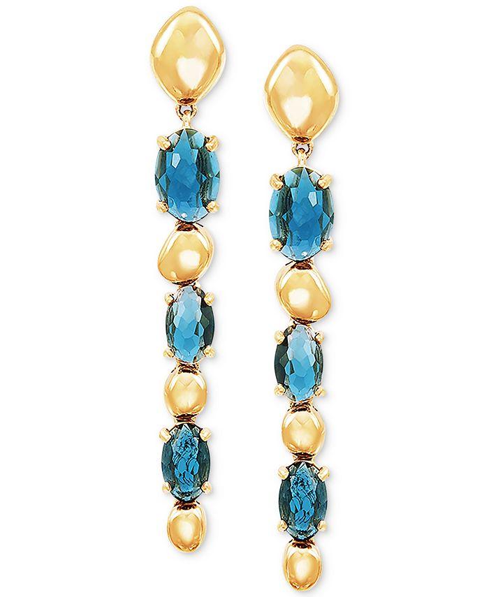 Macy's - London Blue Topaz Drop Earrings (2-1/2 ct. t.w.) in 14k Gold
