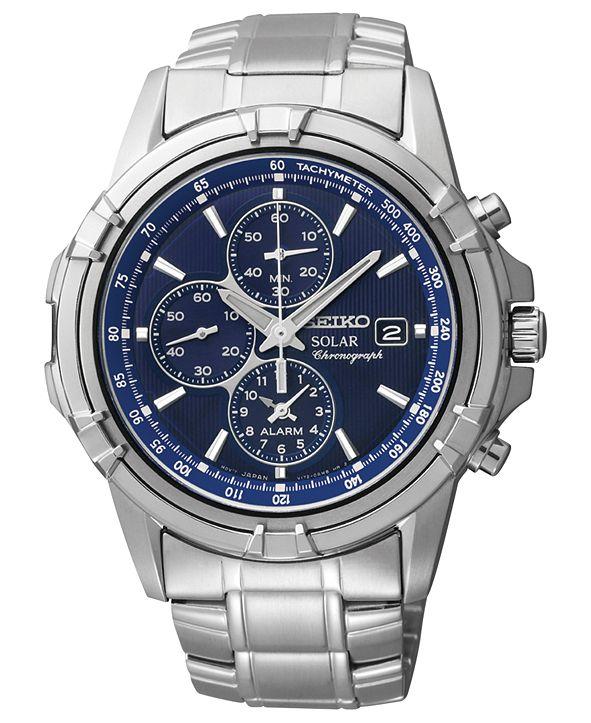 Seiko Watch, Men's Chronograph Solar Stainless Steel Bracelet 43mm SSC141