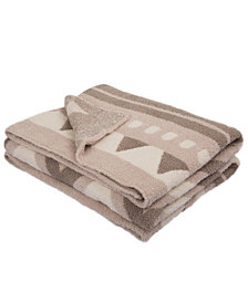 Glitzhome Knitted Geometric Pattern Feather Yarn Throw Blanket