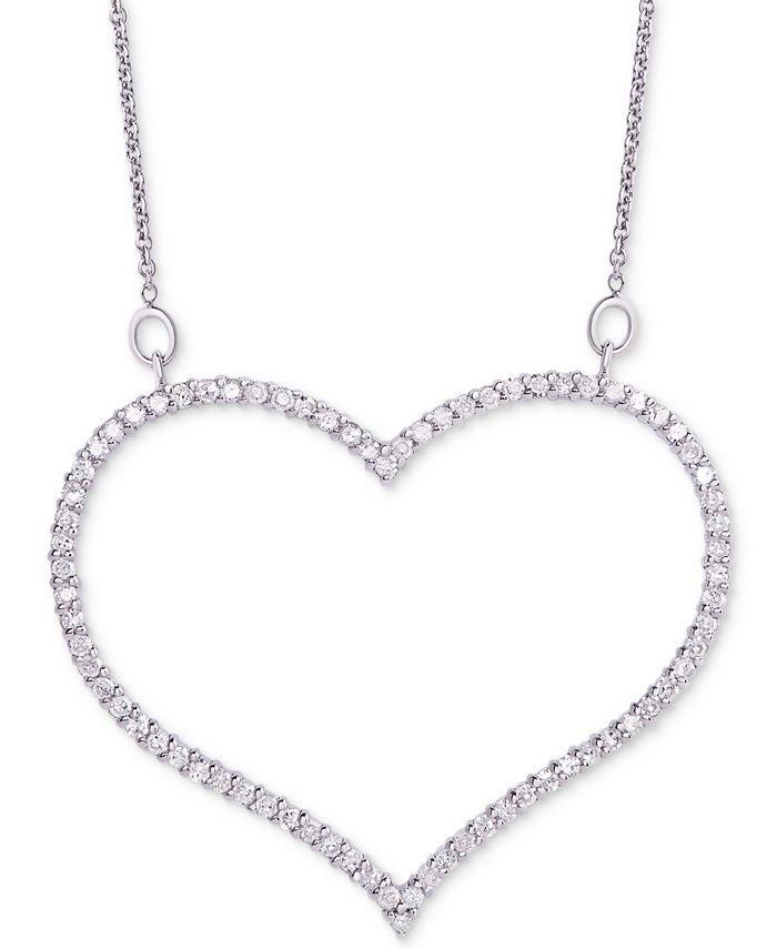 "Macy's - Diamond Open Heart Pendant Necklace (3/4 ct. t.w.) in Sterling Silver, 16"" + 2"" extender"