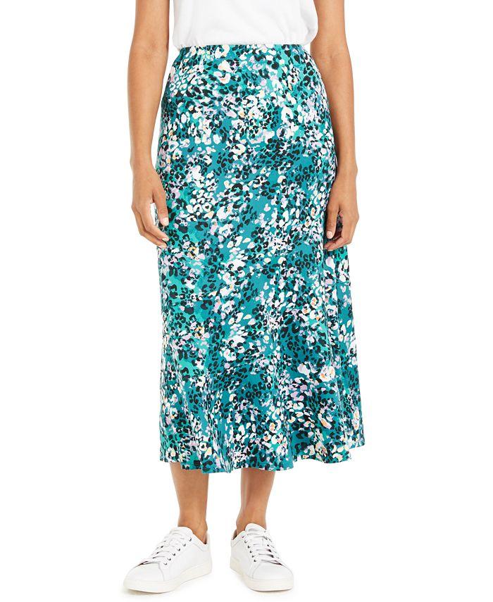 NY Collection - Petite Printed Diagonal-Tier Skirt