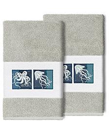 Linum Home 100% Turkish Cotton Ava 2-Pc. Embellished Hand Towel Set
