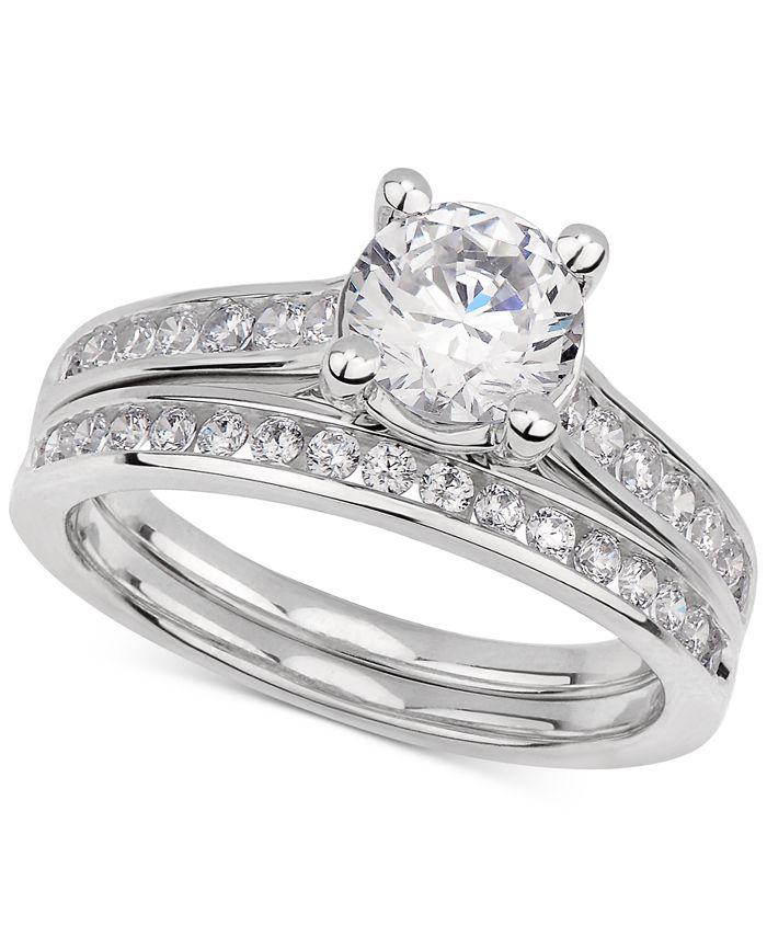 GIA Certified Diamonds - Certified Diamond Bridal Set (1-1/2 ct. t.w.) in 14k White Gold