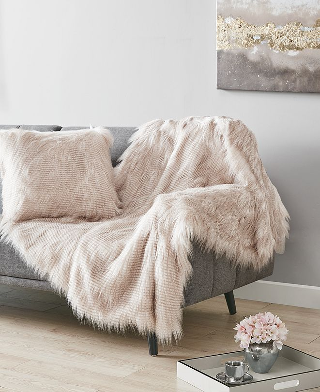 Martha Stewart Collection Longhair Faux-Fur Decorative Pillow and Throw Collection, Created for Macy's