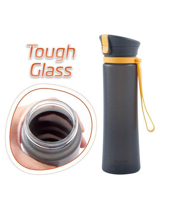 Innoka 13 Oz Flip-Top Silicone Coated BPA-Free Glass Sports Bottle