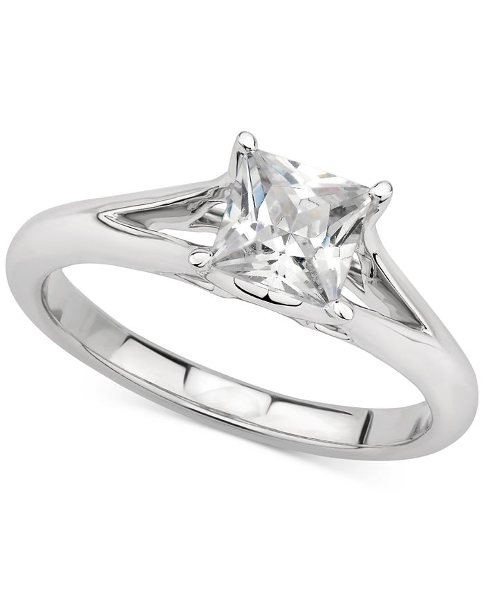 GIA Certified Diamonds - Certified Diamond Princess Solitaire Engagement Ring (1 ct. t.w.) in 14k White Gold