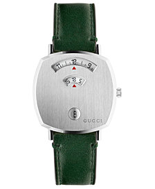 Gucci Grip Green Leather Strap Watch 35mm